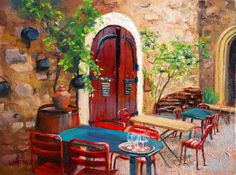 Southern France Painting Vineyard Restaurant Historical Old