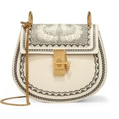 Chloé Drew small embossed textured-leather shoulder bag found on Polyvore featuring bags, handbags, shoulder bags, white, chloe purses, clasp purse, shoulder hand bags, embossed handbags and embossed purse