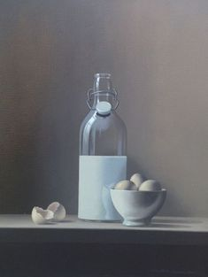 Chris Overbeeke | Dutch painter | Dutch artist | Realism | Realist painter | Still life | Milk Bottle | Eggs