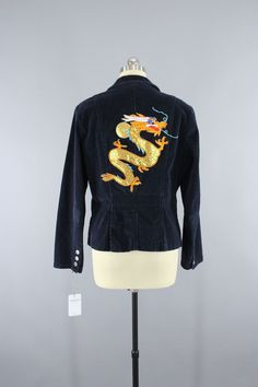 Navy Blue Corduroy Jacket with Golden Dragon Embroidered Patch  #thisbluebird #vintageclothing #shopvintage #vintage
