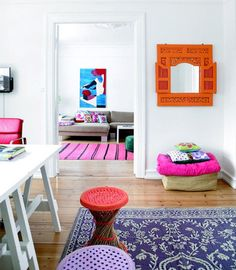 bright, colorful Indian-print accents -- refreshing change from the usual Indian-style colors!