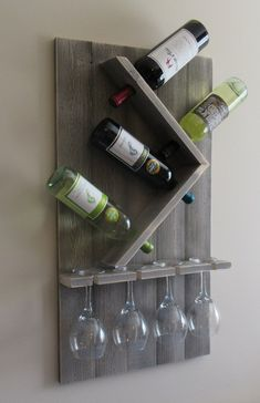 Wine Bottle and Glass Wine Holder, Rustic Wall Wine Rack, Wine Rack Wall Mounted