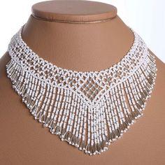 White /Silver. Modern Handmade Jewelry Beaded NECKLACE Waterfall Gerdan.