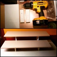 """Build your own """"collapsible"""" hobby and craft show riser shelves! We used: 36x10"""" laminated closet shelves, 5""""x3/4"""" wood planks bought from the HD scrap pile and cut into 5"""" and 10"""" sections, 3/4"""" wood strips cut into 5"""" sections, 1"""" wood screws, glossy spray paint for legs, masking tape for first 3/4"""" of legs to ensure secure fit into slots"""