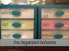 Organized medicine cabinet, I've already done this and it works out perfectly!