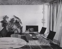 The home of French artist Pierre Soulages, Mont Saint-Clair, Sète, France, 1959: Tall paper light sculpture (model E) by Isamu Noguchi for Akari (1951), PK22 lounge chairs by Poul Kjærholm (1956) for E.Kold Christensen, Diamond chair by Harry Bertoia...