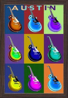 Austin, Texas - Guitar Pop Art - Lantern Press Artwork (16x24 Giclee Art Print, Gallery Framed, Espresso Wood), Multi