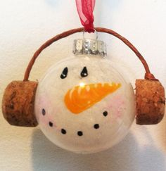 snowman head ornament made from recycled corks by CorkCreationsbyK, $6.00