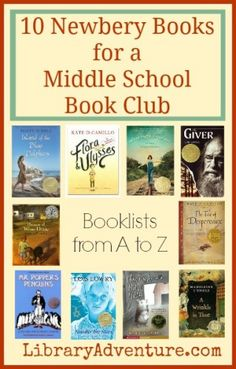 10 Newbery Books for a Middle School Book Club from @edupossible