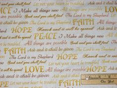 Inspirational Words Inspirations Faith Hope Gold Religious Fabric by the 1/2 Yrd #WindhamFabrics