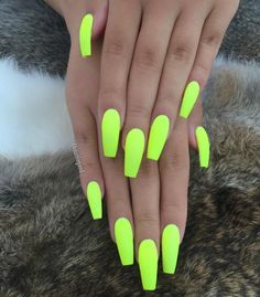 Summer Neon Nails - bright as you like neon yellow manicure on ballerina shaped long nails  #solarglaze https://manungso.com/these-nail-stamps-help-you-diy-all-the-cutest-nail-art/