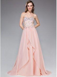A-Line/Princess Sweetheart Sweep Train Chiffon Prom Dress With Beading Sequins Cascading Ruffles (018047248) - JJsHouse Glenda the Good witch