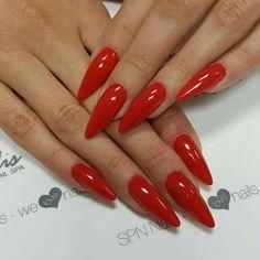 Red Stiletto nails:
