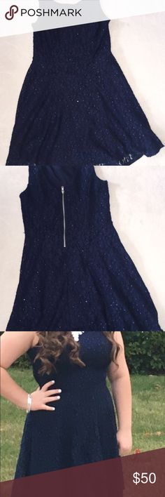 Blue Dress This dress goes above the knees and is a pretty navy blue! It sparkles when it hits the light. Is got a lace knit over the whole thing. Only worn once for 2 hours! Practically new! Macy's Dresses Mini