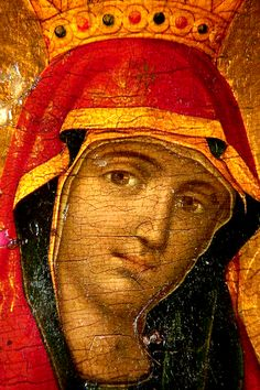 1873 Greek icon of the MostHoly Mother of God. I love her smile.
