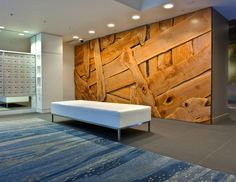 Sage, Vancouver, Canada - woven Wall with swaths of western broad leaf maple slab. Interior Architecture, Interior And Exterior, Interior Design, Interior Ideas, Corporate Interiors, Office Interiors, Commercial Design, Commercial Interiors, Wood Slab