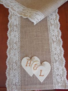 Burlap table runner with lace and hearts by DaniellesCorner
