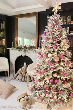 12 Trees of Christmas- Frosted Tree with Vintage Pink Pink Christmas Tree Decorations, Frosted Christmas Tree, Flocked Christmas Trees, Christmas Tree Design, Modern Christmas, Green Christmas, Christmas Stuff, Decorated Christmas Trees, Christmas Tree Ideas