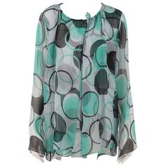 Preowned Ronaldus Shamask Printed Silk Chiffon Tunic/top (390 CAD) ❤ liked on Polyvore featuring tops, tunics, shirts, multiple, green shirt, long sleeve tunic, peasant shirt, long sleeve tops and long-sleeve shirt