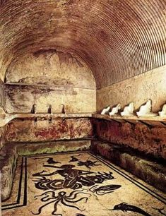 Floor of the entrance to dressing room, the women's bath, Pompeii.