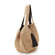 Shopping bag, in beige raffia, shoulder, hand made Crochet Handbags, Crochet Purses, Handmade Handbags, Handmade Bags, Boho Crochet, Tree Bag, Yarn Bag, Round Bag, Summer Bags