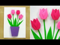 Crafts with paper: make flowers yourself - DIY gifts bas .-Basteln mit Papier: Blumen selber machen – DIY Geschenke basteln – Tulpen basteln – Geschenkideen Crafts with paper: make flowers yourself – DIY gifts – make tulips – gift ideas - Paper Crafts For Kids, Paper Crafting, Diy And Crafts, Simple Crafts, Clay Crafts, Felt Crafts, Easy Origami For Kids, Origami Easy, Origami Cards