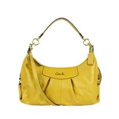 Coach Leather Ashley Convertible Hobo Handbag 19761 Sunflower Yellow