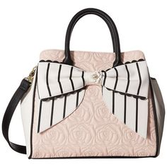 Betsey Johnson Scallop Bow Triple Section (Blush) Handbags (3,950 INR) ❤ liked on Polyvore featuring bags, handbags, shoulder bags, pink, pink purse, white shoulder handbags, vegan shoulder bags, betsey johnson handbags and white hand bags