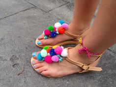 """""""FIESTA"""" Our new Greek Leather pom pom thong Sandals are here! Order yours today at our store : https://www.etsy.com/listing/464779073/greek-sandals-boho-sandals-pom-pom?ref=shop_home_active_1"""