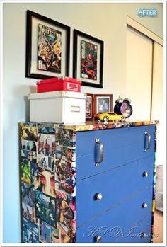 Redo old dresser with marvels superhero