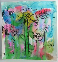 Abstract Watercolor Flowers: Kid Craft. Spring art idea