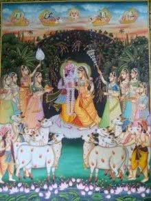 Krishna Radha with Cows painting by Rajendra Khanna | ArtZolo.com