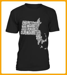 I Love Massachusetts  United States of America Word Cloud Graphic - 14 juli shirts (*Partner-Link)