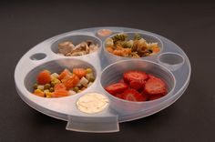 EZ Weight Portion Control Plate - This plate is a great tool to help with portion control. It has 24 increments of measurements, including teaspoons, tablespoons, cups and ounces. Each compartment is removable for easy measuring. It can be used by anyone trying to understand portion control.  Includes a lid so you can take your meals to work. $17.95