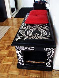 Chic damask litter boxes DIY furniture hack | Offbeat Home