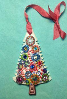Millefiore with Swarovski crystals Christmas tree ornament on silk ribbon