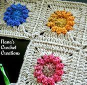 "Ravelry: Nana's ""Mini Popcorn Flower"" Square pattern by Des Maunz"