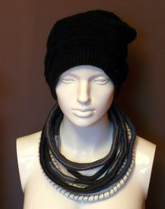 Unique/ Yarn wrapped necklace/ African style/ Boho/ Street/ Hippie/ Tribal/ Grey - pinned by pin4etsy.com