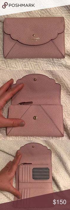Kate Spade Blush Wallet Size M BRAND NEW This item is brand new with no tags! Perfect condition! Tons of pockets and compartments with snap closure and signature striped lining. kate spade Bags Wallets