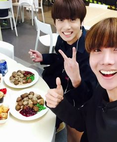 J-Hope and Jungkook in Ikea eating meatballs.....and then Kookie thought he could leave via the emergency door and set off the alarm.