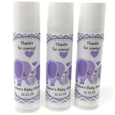 Grey and purple elephant themed Chapstick favors are are a fun and inexpensive favor idea. All natural, infused with organic oils and shea butter, they will surely make your guests feel pampe Cowboy Party Favors, Superhero Party Favors, Party Favors For Kids Birthday, Baby Shower Favors, Baby Shower Games, Baby Shower Decorations, Elephant Baby Showers, Baby Elephant, Baby Shower Purple