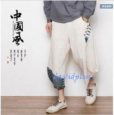 S-5Xl Mens Japanese Samurai Boho Harem Hakama Linen Cotton Pants Trousers 2Color