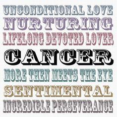 Good Cancer Bad Cancer set- 8x8- Typography Print. Zodiac. Astrology. Cancer. Birthday Gift. June Birthday. July Birthday. $36.00, via Etsy.