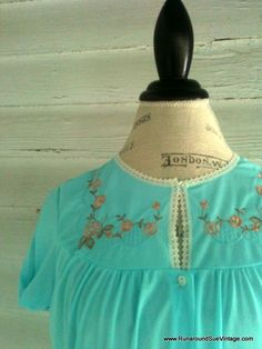 Vintage Blue Nightie  Embroidered and Lace by runaroundsuevintage, $16.00