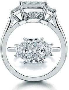 Radiant Diamond Engagement Ring with Trapezoids