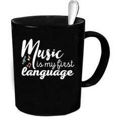 Music Coffee Mug Tea or Coffee Cute and Funny Gift Idea 11 Oz Ceramic... ($15) ❤ liked on Polyvore featuring home, kitchen & dining, drinkware, drink & barware, grey, home & living, mugs, tea coffee mugs, ceramic mugs and grey coffee mugs