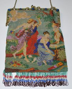 """Beaded figural, after Bougeureau's """"Lovers Running in a Storm"""""""