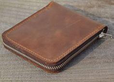 Genuine Leather wallet with lagre zipper-Men wallet-bifold wallet-Brown vintage Leather purce.