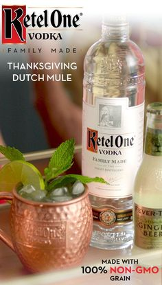 Before we give thanks, we toast with Dutch Mules. To make, shake oz Ketel One Family Made Vodka and oz fresh lime juice with ice and strain into ice-filled copper mug. Top with ginger beer and stir. Garnish with lime wedge and mint sprig. Cocktail Drinks, Fun Drinks, Yummy Drinks, Mixed Drinks, Alcoholic Drinks, Beverages, Fall Cocktails, Holiday Drinks, Holiday Recipes