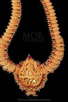 Gold Lakshmi Haram Designs, Gold Lakshmi Long Necklace Design.